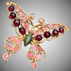 Swoboda Pearl and Garnet Butterfly Brooch