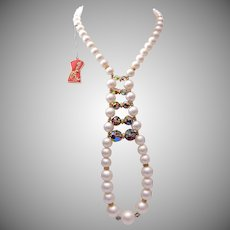 Schiaparelli Pearl Necklace With Crystal and Hang Tag