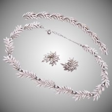 Trifari Silver Leaf Necklace, Bracelet and Earring Set