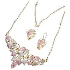 3 Color 10kt Black Hills Gold Necklace and Earring Set