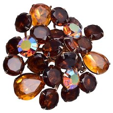Brown and Topaz Colored Rhinestone Brooch
