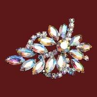 Weiss AB Crystal Leaf Brooch