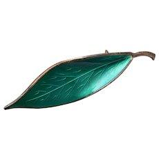 David Anderson Sterling Green Enameled Leaf Brooch