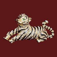Lounging Tiger Brooch