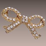 Wendy Gell Pierced Metal Bow Brooch With Rhinestones