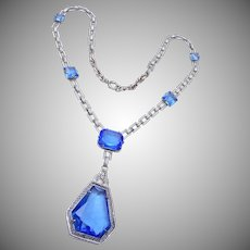 Exceptional Blue Art Deco Necklace