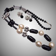 Faux Pearl, Black Carved Glass and Rhinestone Necklace and Earring Set