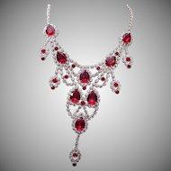 Dominique Red Rhinestone Necklace