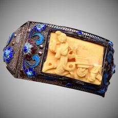 Chinese Filigree and Enamel Bracelet with Carved Front Panel