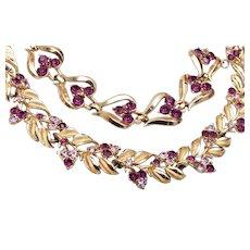 Coro Purple Rhinestone Necklace and Bracelet Set