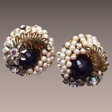 Hobe' Faux Pearl, Black Crystal and Rhinestone Earrings