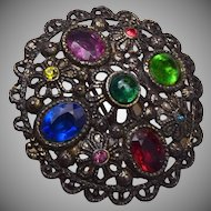 Colorful Rhinestone Brooch