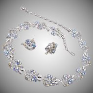 Coro Aurora Borealis Rhinestone Necklace and Earring Set