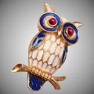 Crown Trifari Enameled Owl Brooch