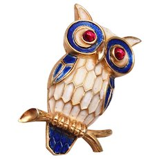 Crown Trifari Enameled Owl Brooch
