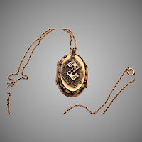 Gold Filled Etruscan Locket with Seed Pearls and Rose Cut Stones