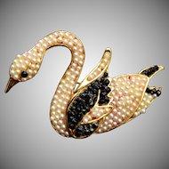 Vendome Faux Pearl Swan Brooch