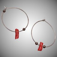 Pierced Sterling and Branch Coral Earrings