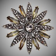 Hollycraft Black Rhinestone Brooch