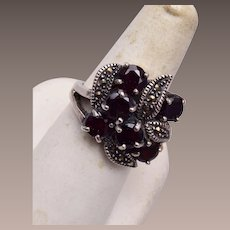 Sterling and Garnet with Marcasite Ring size 9