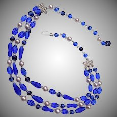 Japan 3 Strand Blue Glass Necklace