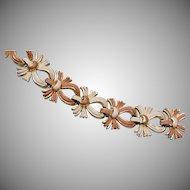Coro Tan and White Enameled Flower Bracelet