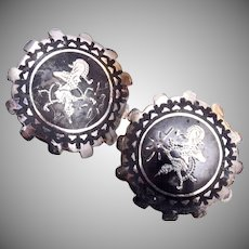 Siam Sterling Niello Thai Dancer Earrings