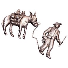 Sterling Mexico Man and Donkey Brooch