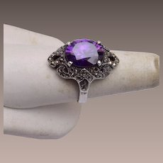 Sterling and Marcasite Ring With Amethyst Stone Size 9