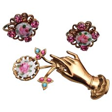 Coro Hand Brooch With Enameled Flower Earrings