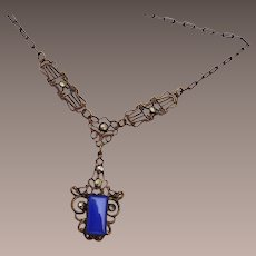 Art Deco Blue Stone and Marcasite Necklace