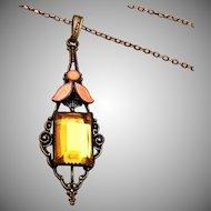 Topaz Stone and Orange Enameled Necklace