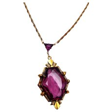 Faceted Unfoiled Open Backed Purple Crystal Necklace