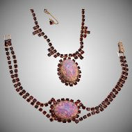 Wiesner Faux Opal and Red Rhinestone Set