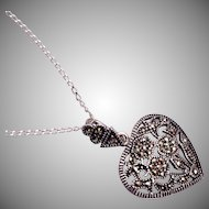 Sterling Heart and Marcasite Necklace