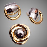 1968 Henkle and Grosse Modern Brooch and Pierced Earring Set
