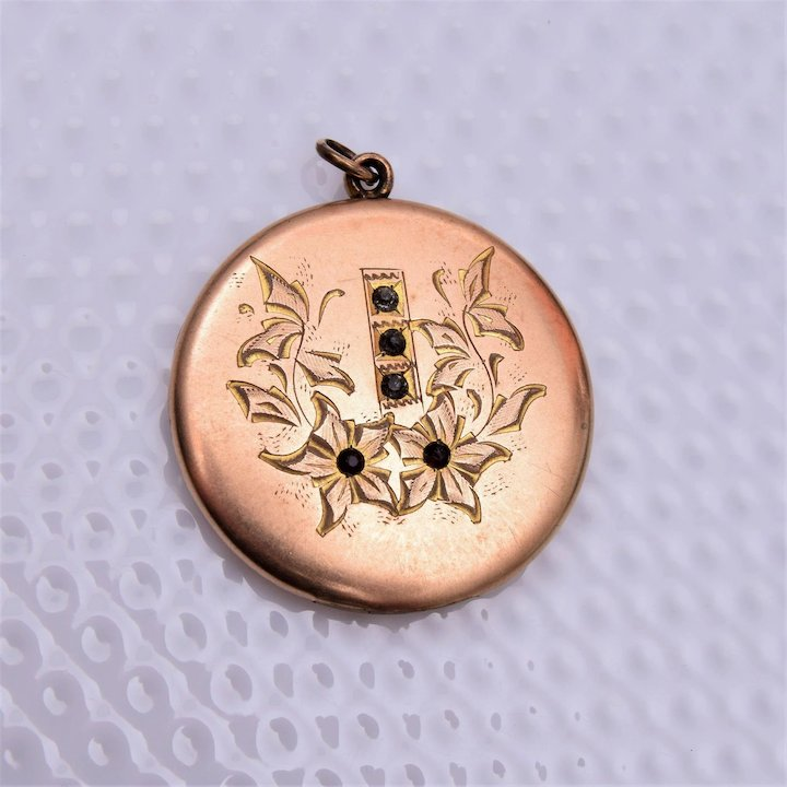 Rbm atrice etched locket with stones the wright glitz ruby lane rbm atrice etched locket with stones aloadofball Images