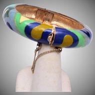 Eisenberg Enamel Hinged Bangle Bracelet