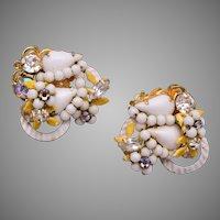 Robert White Glass and Rhinestone Earrings