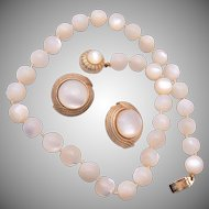 Ciner Tied In Between Mother of Pearl Necklace and Earring Set