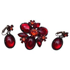 Red Jelly and Pink Rhinestone Brooch and Earring Set