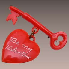Be My Valentine Red Plastic Key and Heart Brooch