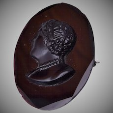 Black Glass Cameo Brooch