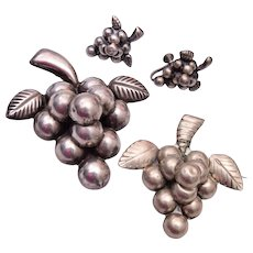 Mexico Sterling Grape Cluster Brooch and Earring Set - Red Tag Sale Item
