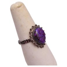 Sterling and Purple Stone Ring Size 9-1/4