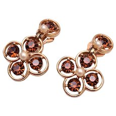 Bogoff Topaz and Faux Pearl Earrings