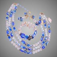 Vendome 3 Strand Blue Crystal and Rhinestone Set