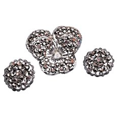 Weiss Pansy Brooch and Earring Set