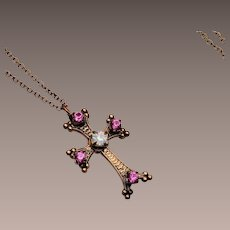 Cross with Stones and Writing Necklace