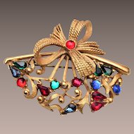 Hattie Carnegie Colorful Fan Brooch